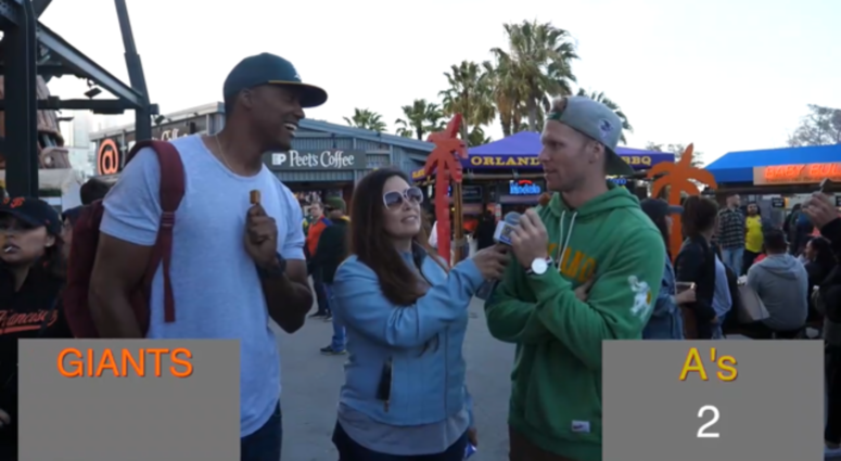 Xfinity from the Sidelines: A's and Giants fans face-off in Battle of the Bay Baseball Trivia!