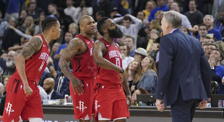 James Harden shouts out Rockets teammates after win over Warriors