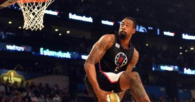 Los Angeles Clippers center DeAndre Jordan (6) competes in the slam dunk contest during NBA All-Star Saturday Night at Smoothie King Center.