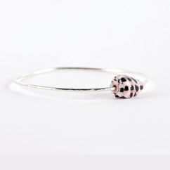 Hebrew Cone Shell Bangle Silver
