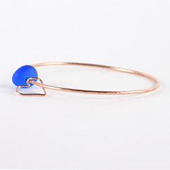 Sea Glass Heart Charm Bangle Rose Gold