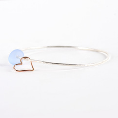 Sea Glass Heart Charm Bangle Silver