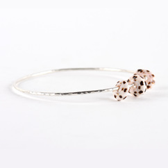 Puka Shell Trio Bangle Silver