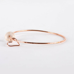 Puka Shell Heart Bangle Rose Gold