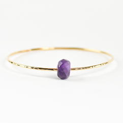 Faceted Amethyst Bangle Gold