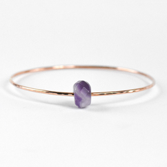 Faceted Amethyst Bangle Rose Gold