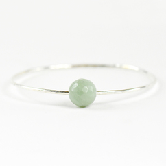 Faceted Amazonite Bangle Silver