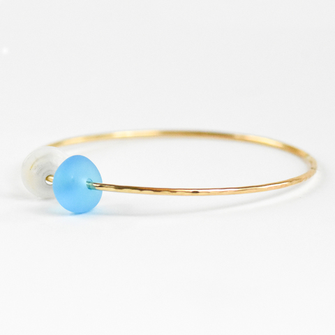 Puka Shell & Sea Glass Bangle Gold