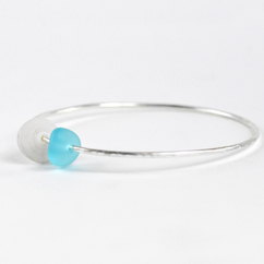 Puka Shell & Sea Glass Bangle Silver