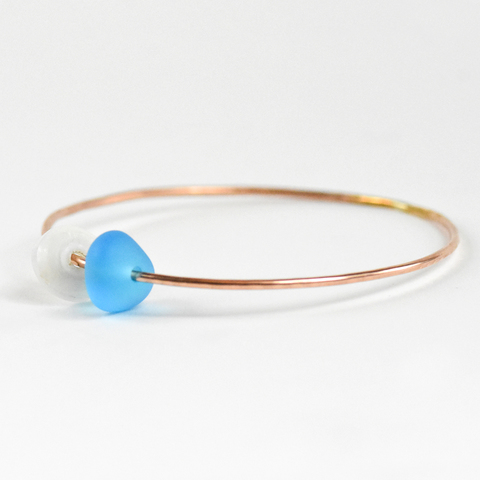 Puka Shell & Sea Glass Bangle Rose Gold
