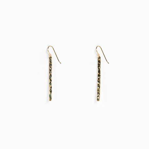 Petite Hammered Gold Bar Earrings