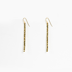 Long Hammered Gold Bar Earrings