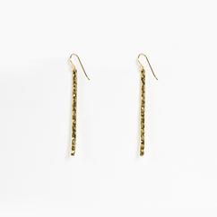 Long Hammered Gold Bar Earrings
