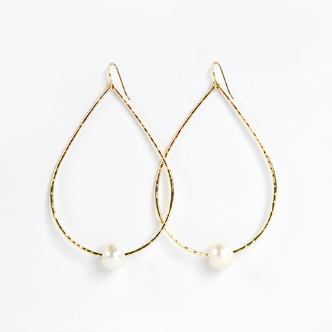 Gold Teardrop Freshwater Pearl Earrings