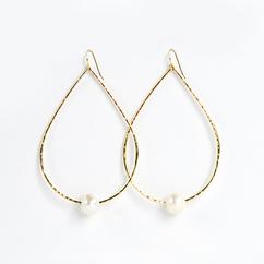 Gold Teardrop Freshwater Pearl Earrings