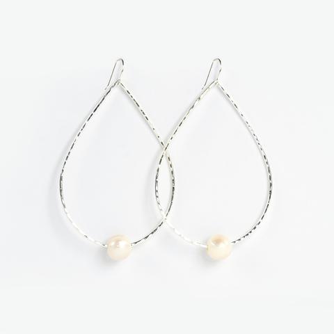 Silver Teardrop Freshwater Pearl Earrings