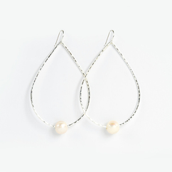 Silver Teardrop Freshwater Pearl Earrings