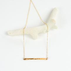 Hammered Gold Bar Necklace