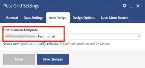 Choose grid element template