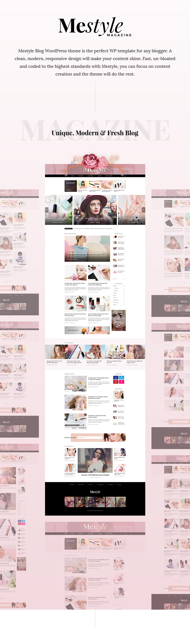 WordPress theme Mestyle - Beauty Blog Responsive WordPress Theme (Personal)