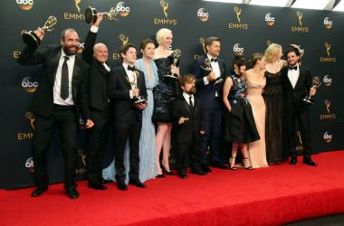Sep 18, 2016; Los Angeles, CA, USA; The cast of Game of Thrones pose with their Awards for Outstanding Drama Series in the photo room during 68th Emmy Awards at the Microsoft Theate