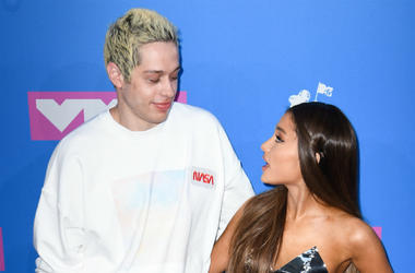 Pete Davidson and Ariana Grande arriving at the MTV Video Music Awards 2018, Radio City, New York.