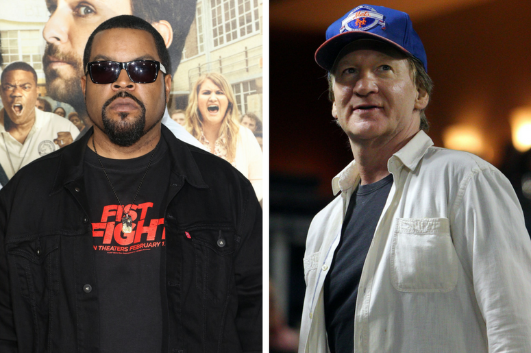 Ice Cube at the Premiere Of Warner Bros. Pictures' 'Fist Fight' held at The Regency Village Theatre / Bill Maher looks on during the fourth inning of a game between the New York Mets and the Colorado Rockies at Citi Field.