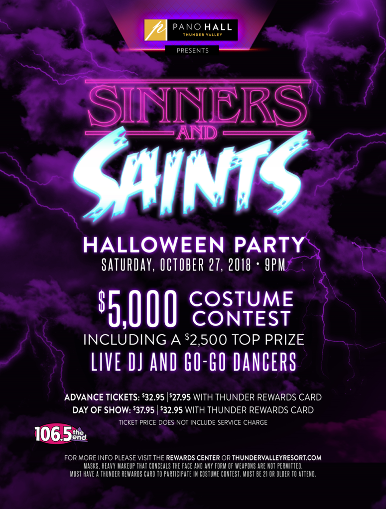 sinners & saints halloween party at thunder valley casino! | end