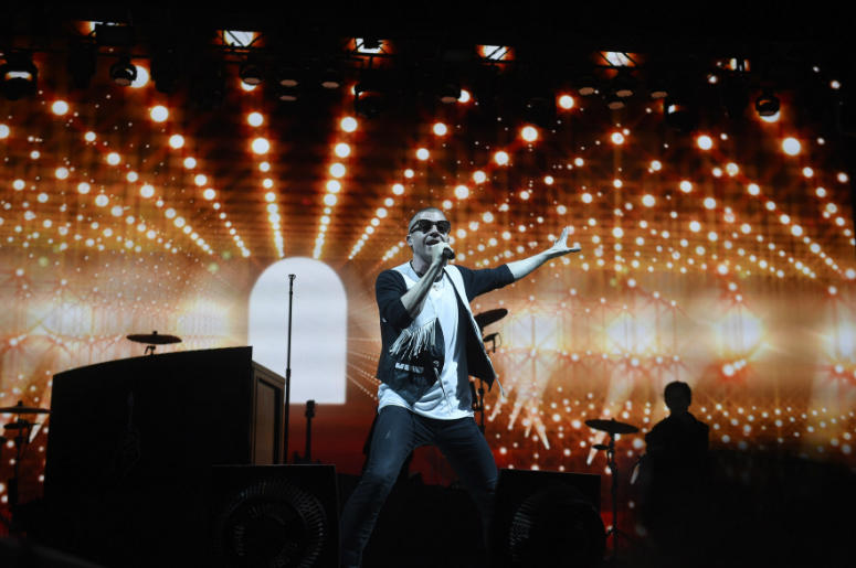 Macklemore performs during the 2016 Bonnaroo Music and Arts Festival at Great Stage Park.