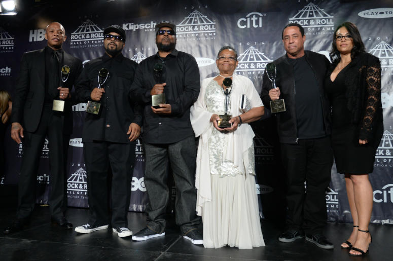 Dr. Dre, Ice Cube, MC Ren, Easy-E's mother, Kathie Wright, and DJ Yella of N.W.A.pose in the press room at the 31st Annual 2016 Rock And Roll Hall Of Fame Induction Ceremony.
