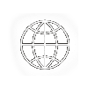 Project management globe outline computer icon