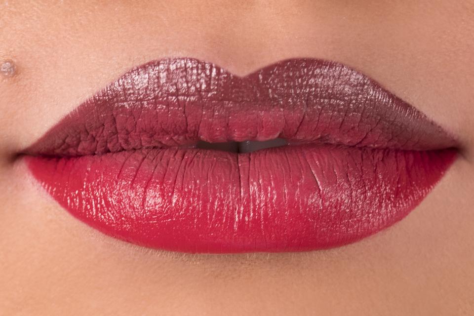 Step by step ombre lipstick art tutorial using Japonesque Kumadori Lipstick in Sakura, Kumadori, and Haiku and lip brush.