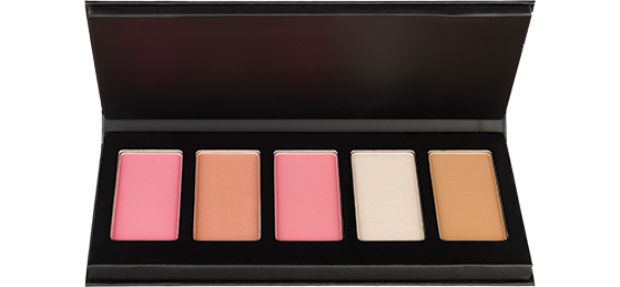 The Japonesque Color Velvet Touch Face Palette has three blush colors, a highlighter, and a bronzer for a full face cheek look in one convenient, portable palette.