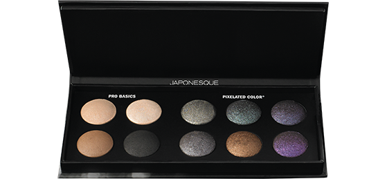 Japonesque Color cosmetics and makeup line has this Pixelated Color eyeshadow palette that contains both neutral toned shades and shimmery purple eyeshadow, green eyeshadow, black eyeshadow, and bronze eyeshadow.