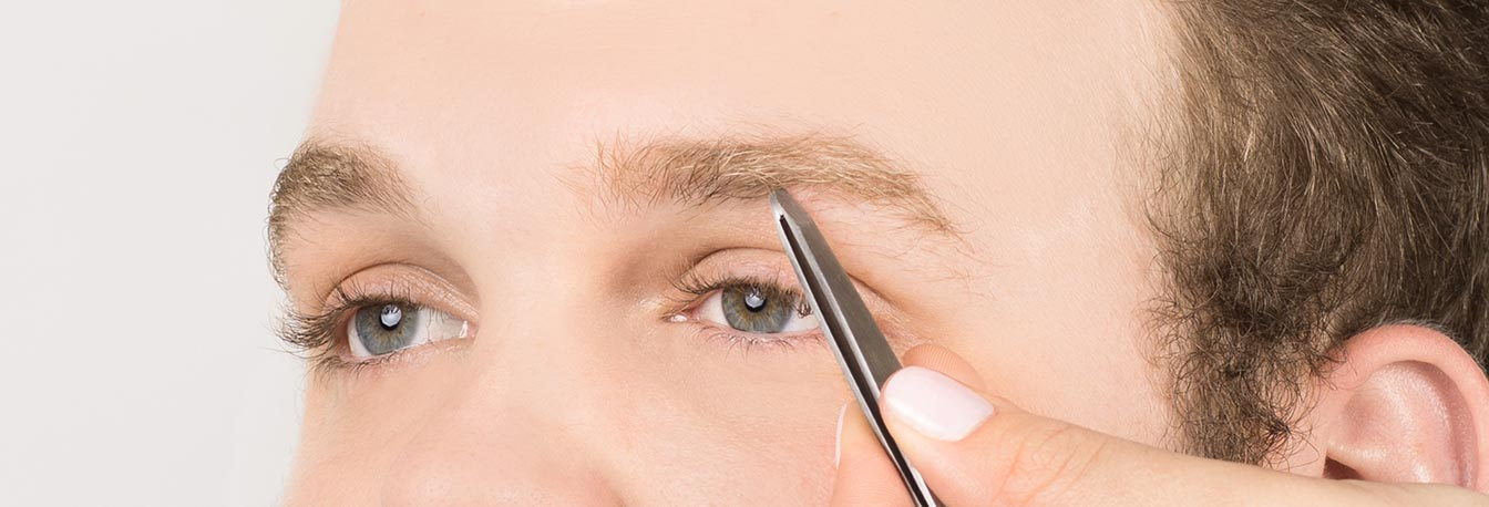 Remove hairs on the bottom of the brow that extend down onto the eyelid. Using a pointed tweezer begin forming an arch.