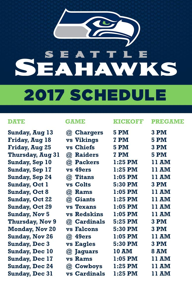 image about Printable Seahawks Schedule called Rose Glen North Dakota Attempt People Seahawks Plan 2019