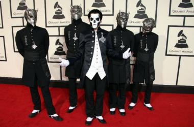 Members of the band Ghost arrive on the red carpet during the 58th Grammy Awards at the Staples Center