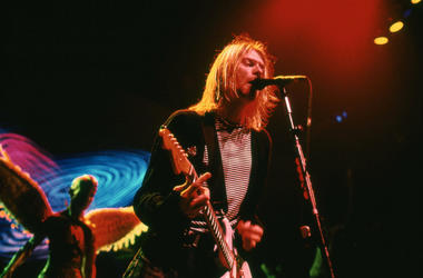 Kurt Cobain from Nirvana performs in Concert on November 14, 1993
