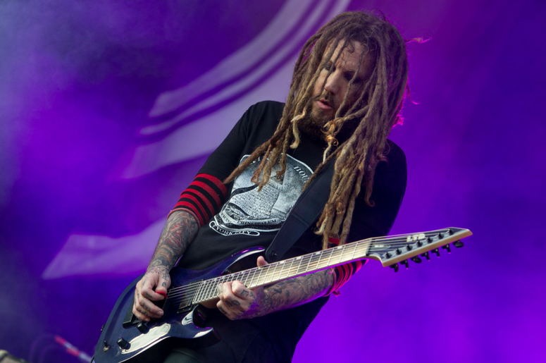 Brian Welch of Korn performing live on stage on day 3 of Leeds Festival