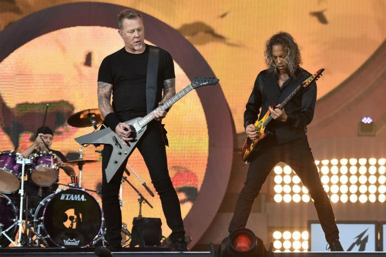 Drummer Lars Ulrich, lead vocalist James Hetfield and lead guitarist Kirk Hammett of Metallica perform at the 2016 Global Citizen Festival held in New City's Central Park in New York