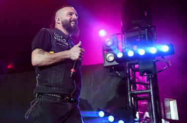 Singer Jesse Leach of Killswitch Engage performs during the Las Rageous music festival at the Downtown Las Vegas Events Center