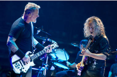 James Hetfield and Kirk Hammet of Metallica performing live on stage at Genting Arena in Birmingham, UK