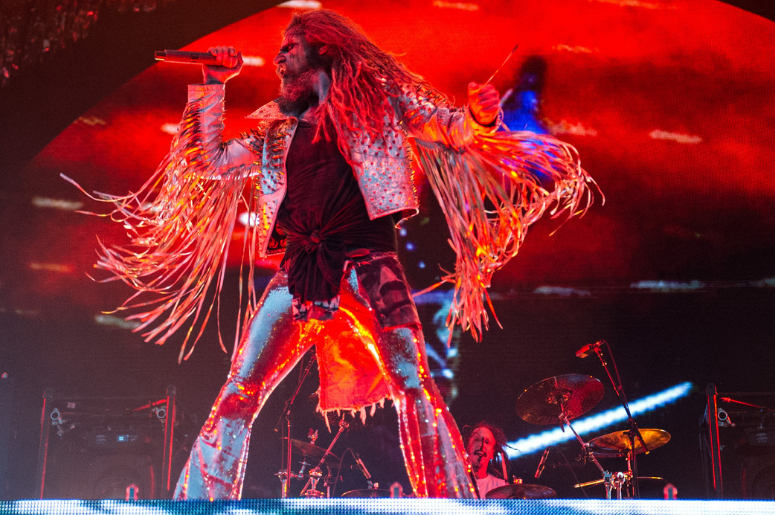 Rob Zombie performing live on stage on day 2 of Download Festival
