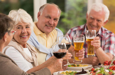 Seniors drinking beer and wine