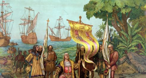 Ilustración de Cristóbal Colón durante el descubrimiento de América. LA PRENSA/ TOMADA DE INTERNET