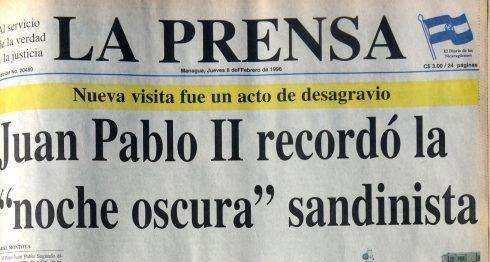 Esta fue la portada de LA PRENSA del 8 de febrero de 1996, un día duespués de la segunda visita del Papa Juan Pablo II a Nicaragua. LAPRENSA/ARCHIVO