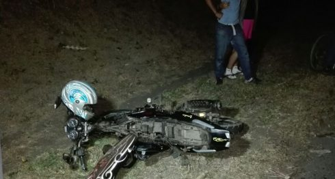 Esta es la motocicleta en la que viajaba de acompañante Miurel Vanessa García Calero la noche de este domingo. LAPRENSA/M. García