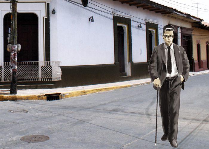Oliverio Castañeda caminando por las calles del León. LA PRENSA / Dibujo de Luis González Sevilla.