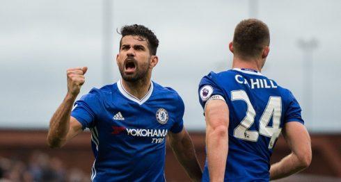 Diego Costa celebra el triunfo del Chelsea. Foto: EFE