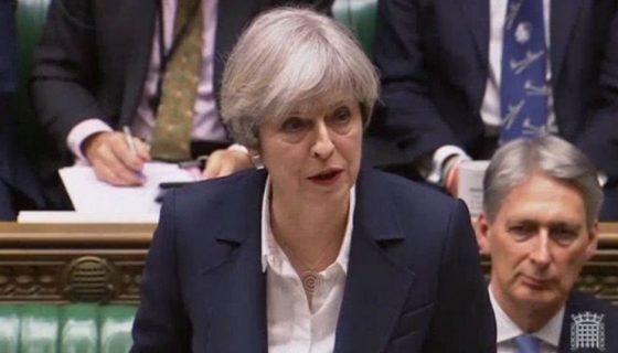 Momentos en que la primera ministra británica,Theresa May confirma que el Reino Unido ha invocado el Artículo 50 del Tratado de Lisboa, para retirar su país de la Unión Europea (UE). LA PRENSA/EFE